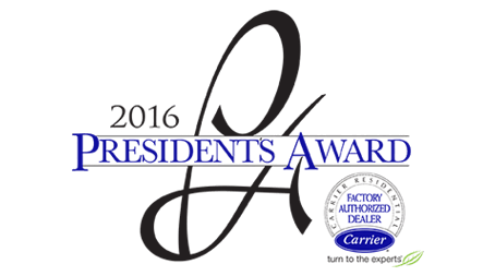 2016 Carrier Presidents Award Winner McLay Air Conditioning Plumbing and Heating2